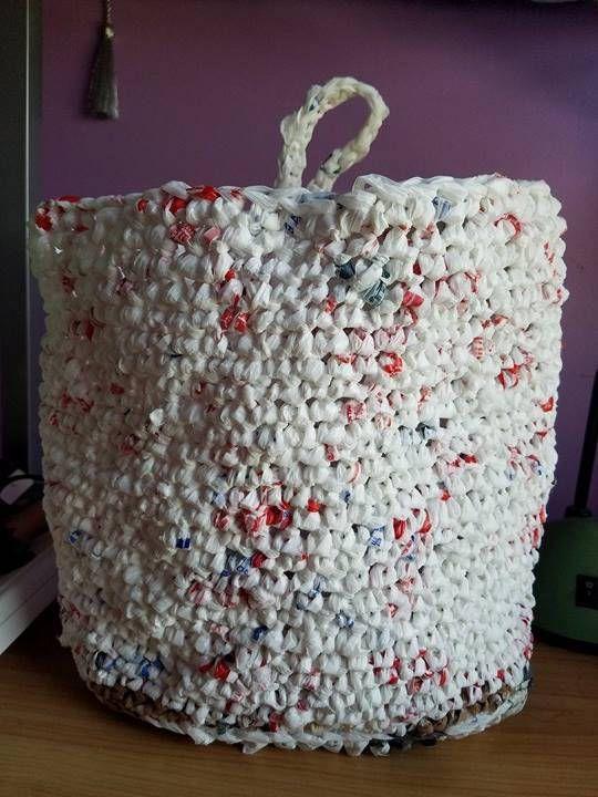 Plarn Hanging Storage Bag   my crochet patterns   Pinterest ...