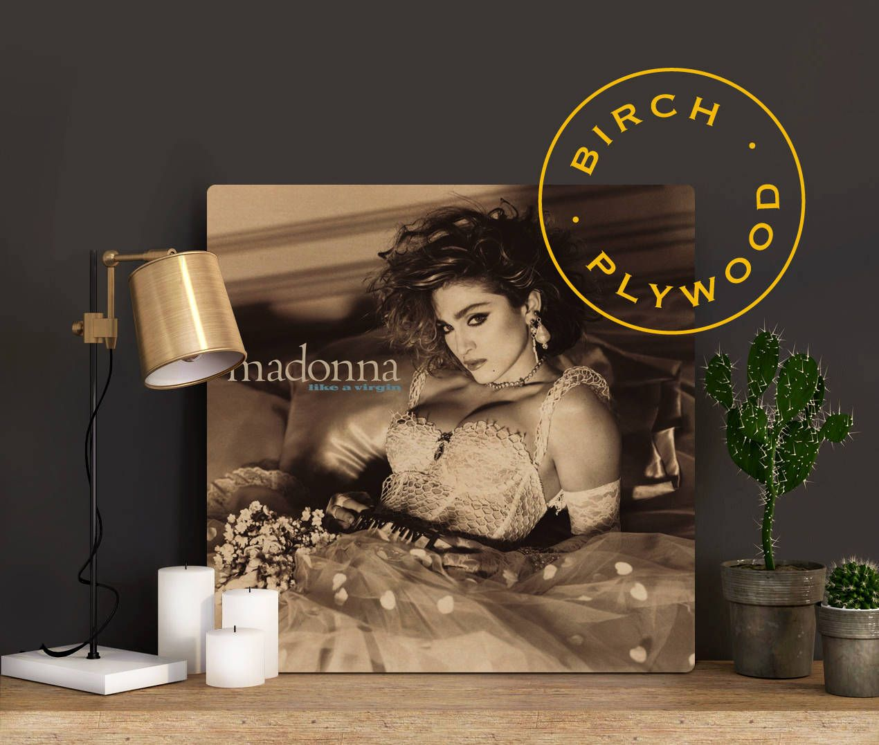 Madonna Like A Virgin Album Art On Wood Material Girl Madonna