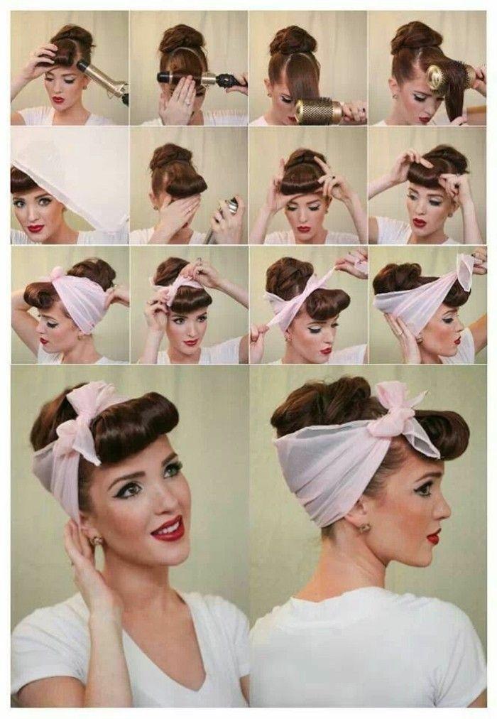 b5641add1980a acconciature-fai-da-te-passo-per-passo-donna-capelli-castani-fascia-bianca- fiocco-pin-up-avanti