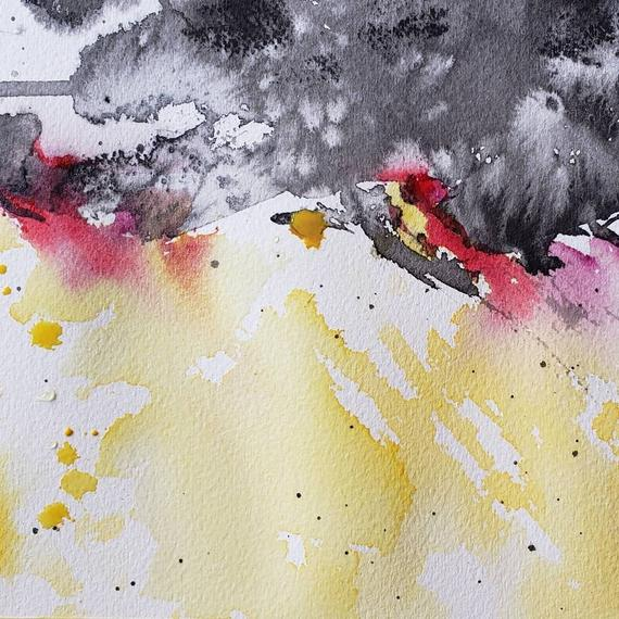 Original Watercolour Ink Painting On Paper Abstract Landscape
