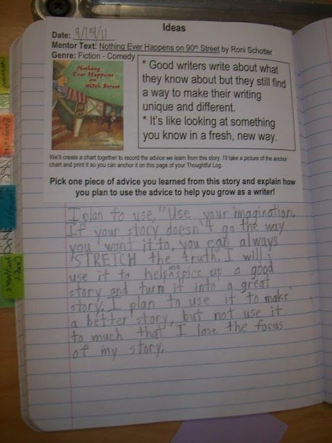 reading notebooks and writing about reading.