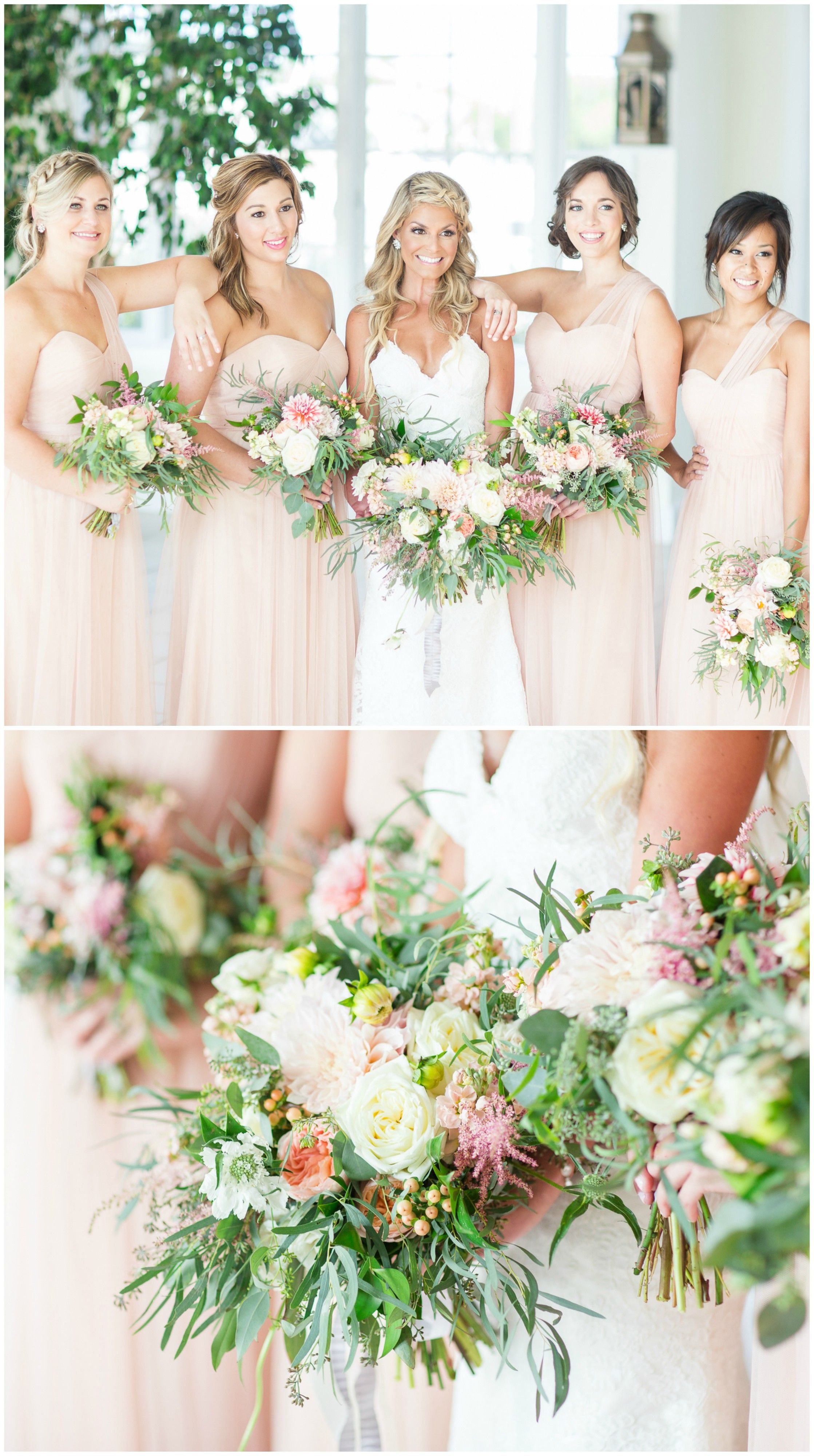 Romantic summer wedding at chesapeake bay beach club springtime bridal party pastel pink bridesmaid dresses chiffon gowns cream and pink floral ombrellifo Choice Image