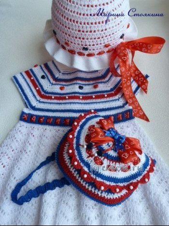 Комплект для девочки «Прогулка у моря». Вязание крючком.