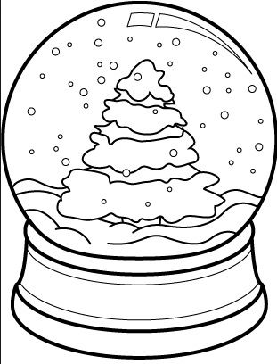Christmas Tree Snow Globe Coloring Page Coloring Page Book For