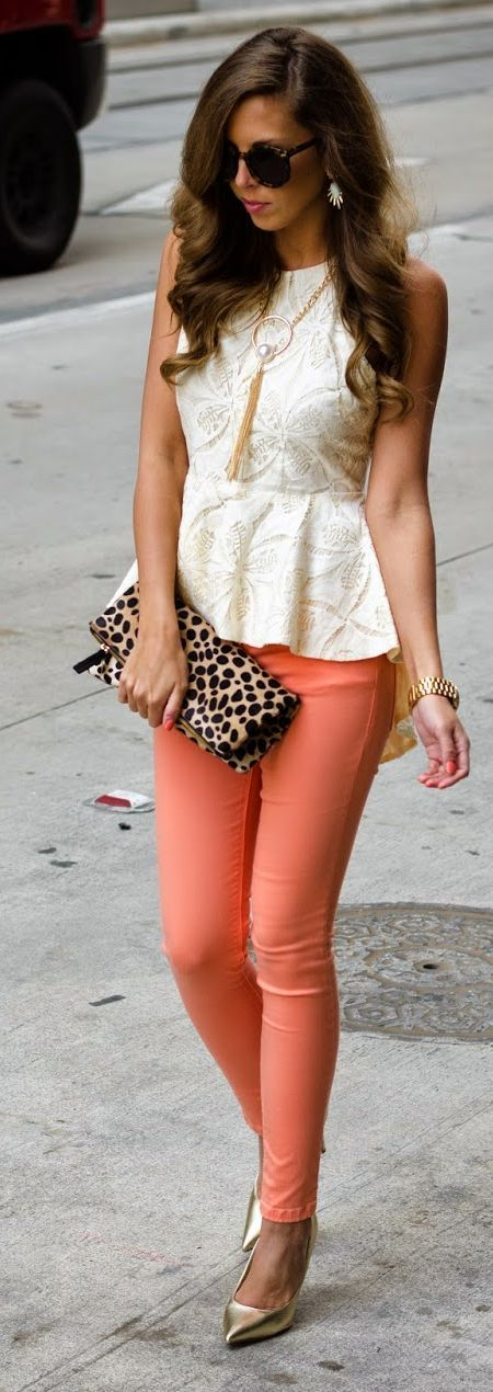 Peach Pants Inspiration Outfit by For The Love Of Fancy