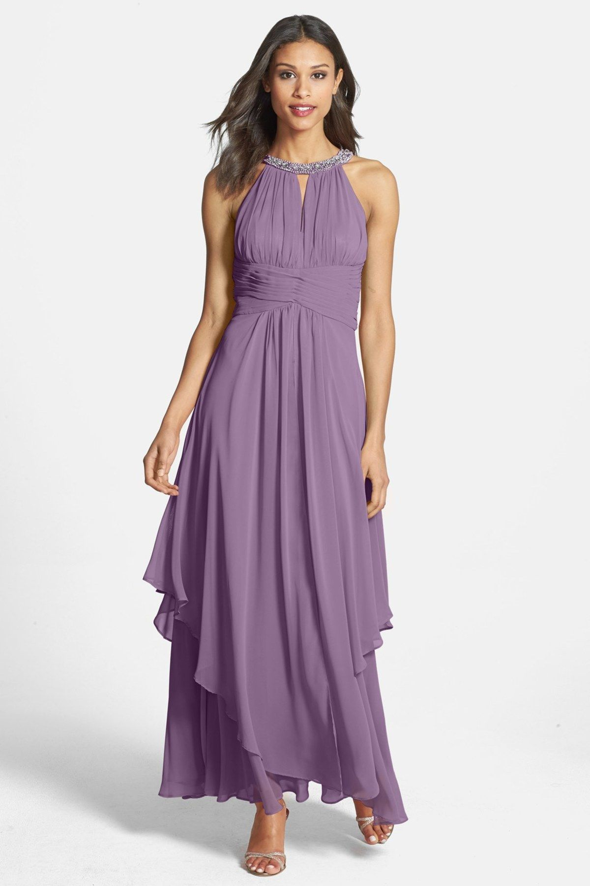 Eliza J Embellished Halter Tiered Chiffon Gown