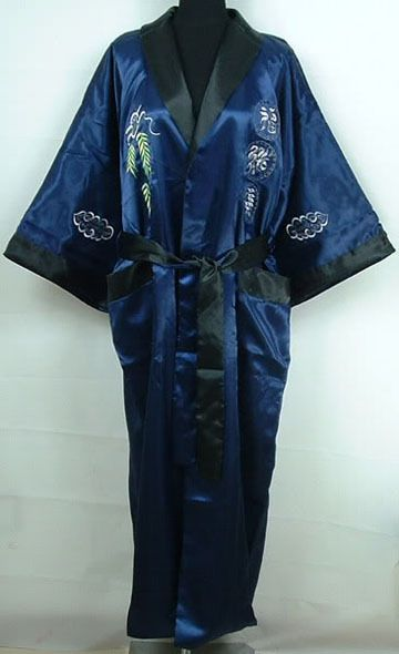 fab316707 Navy Blue Black Men's Satin Reversible Bathrobe Two-Face Embroidered Sleepwear  Novelty Yukata Gown Free Shipping One Size S3002