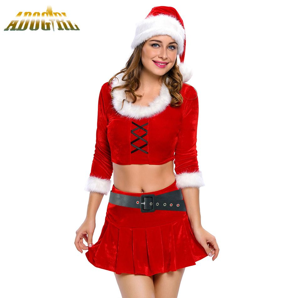 Adogirl Womans Christmas Dress Adult y Ms Santa Costume Red