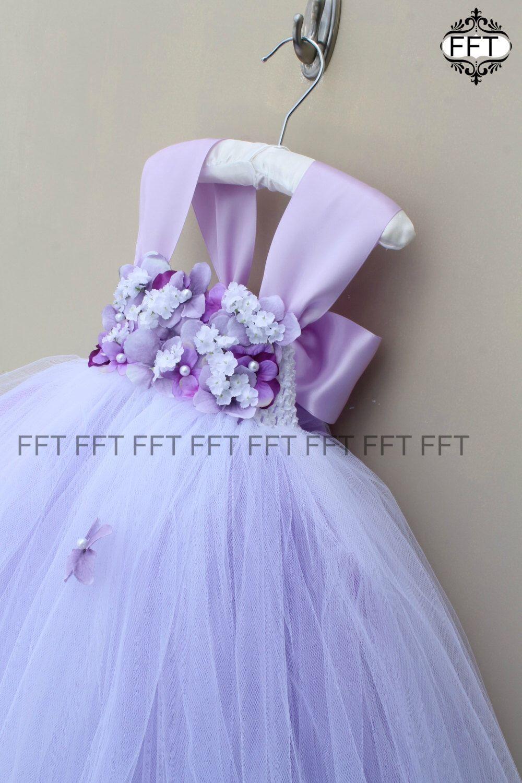 36b0d3d37aa Lavender Flower Girl Tulle Dress Light Purple Tutu Dress Cap Sleeves ...