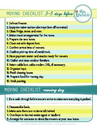 Moving Checklist  Very Good  Moving Tips And Help