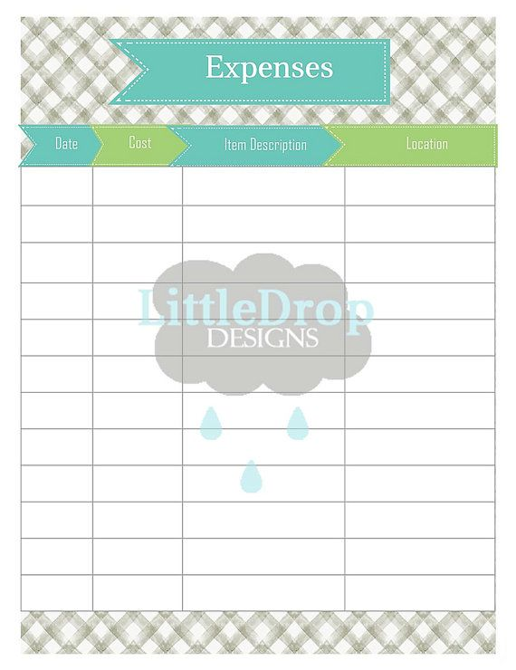 $249 Etsy Expenses Record Sheet, Planner Page Printable, INSTANT - printable expense sheet