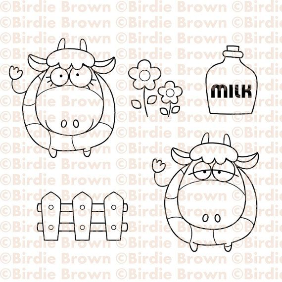 Digital stamp set -- Moo Moo Embroidery patterns Pinterest - moo digital