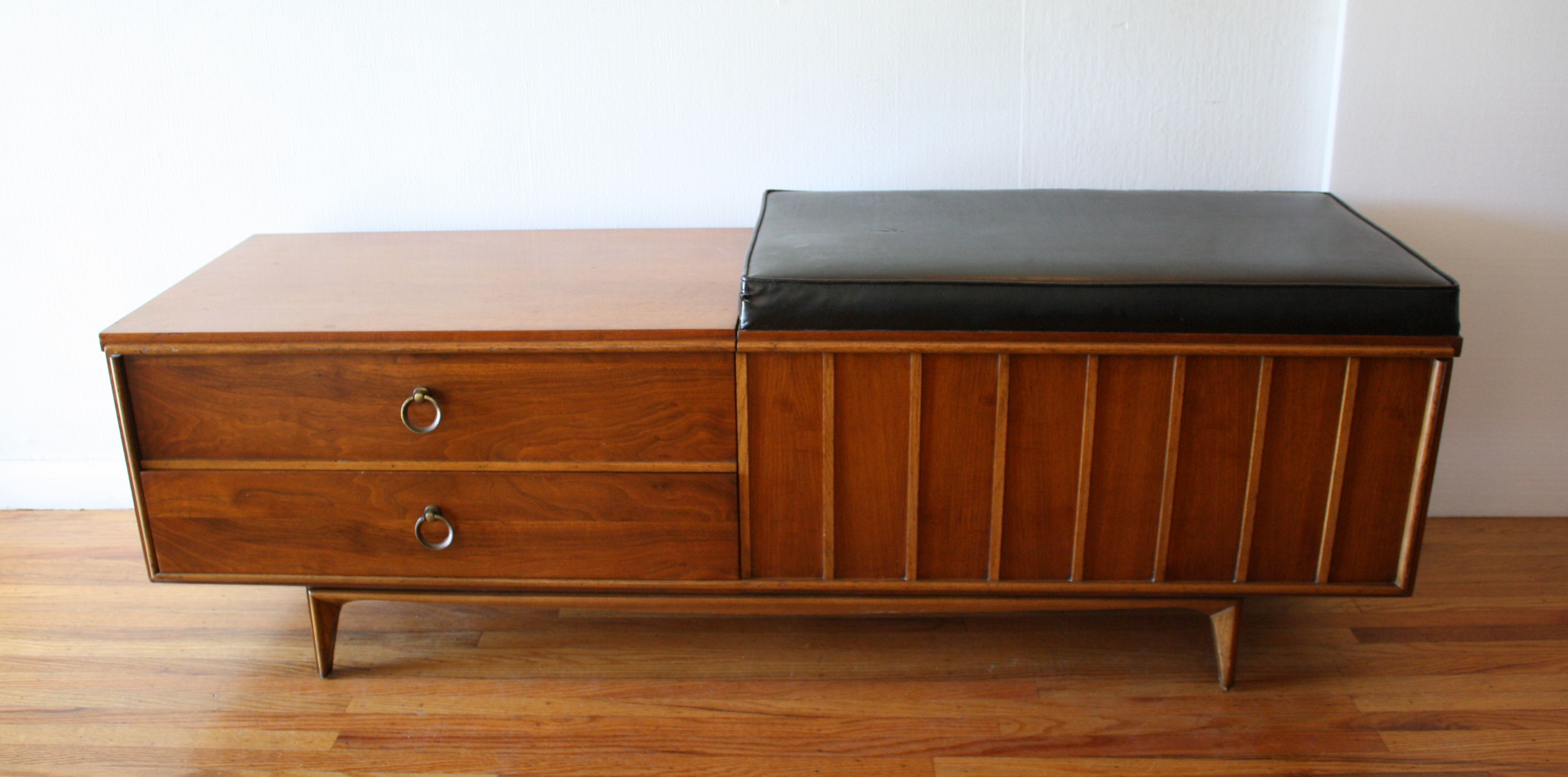 Mid Century Modern Lane Cedar Chest Bench With Dovetailed Drawers And An  Upholstered Seat That Lifts