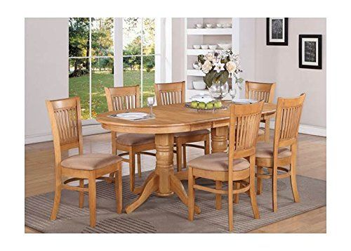 5 Pc Double Pedestal Oval Dining Table Set In Oak Finish Oval Dining Room Table Oak Dining Table Dining Table In Kitchen