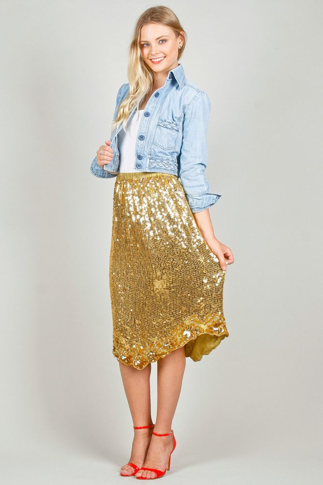 Gold Sequin 80s Midi Skirt | Ela Hawke Vintage $69 ...