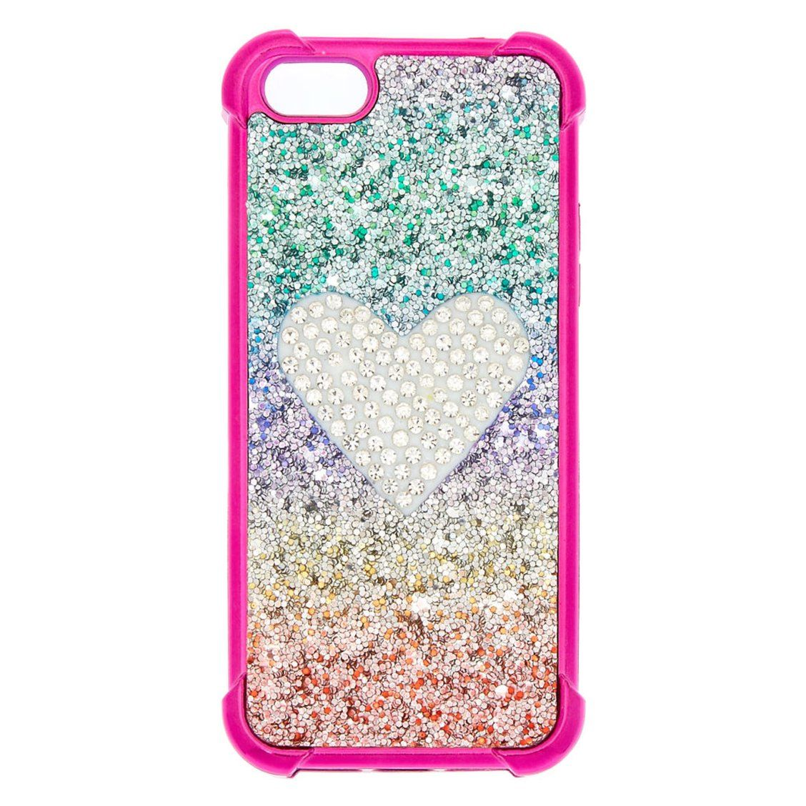 newest 6043d 0bac4 Rainbow Glitter Heart Protective Phone Case | Make your phone look ...