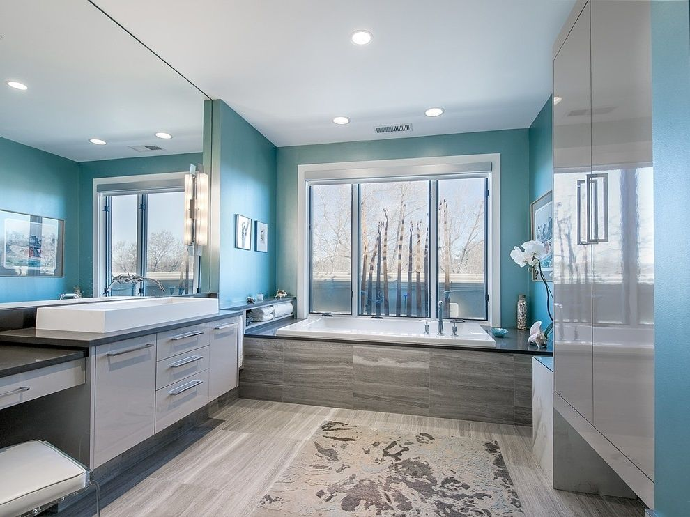 45 blue master bathroom ideas for 2018 gray floor blue Contemporary bathroom colors
