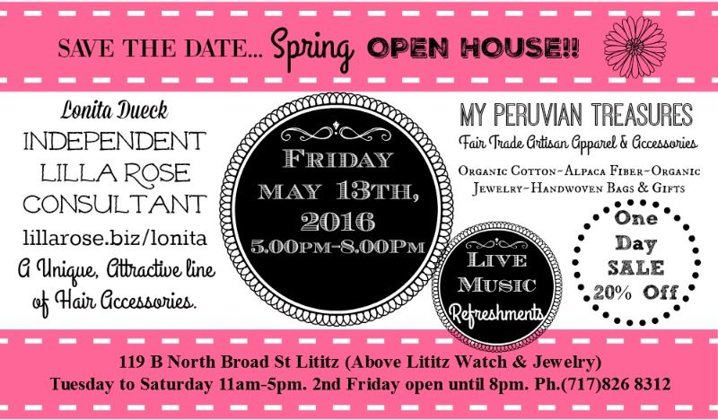 Woohoo SPRING OPEN HOUSE!! Friday 5/13 SALES,MUSIC,Peruvian Snacks & More!