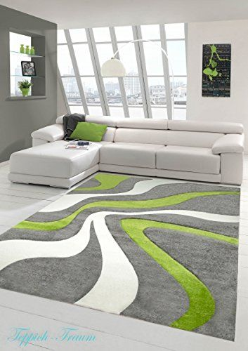 Designer Living Room Rug Contemporary Low Pile Carpet With Contour Cutting Wave Pattern Green Gray White Size 120x170 Cm