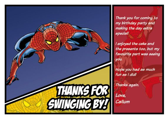 Spiderman Thank You Card Can Be By Chrismasillustrates On Etsy
