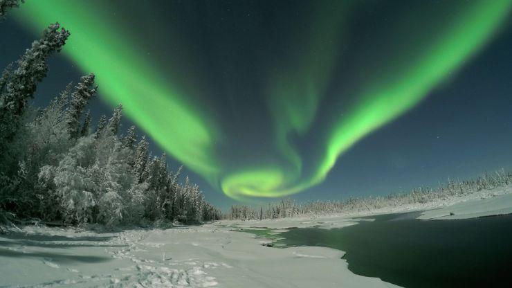 Amazing display of lights at Clearwater Lake in Delta Junction,  Alaska.