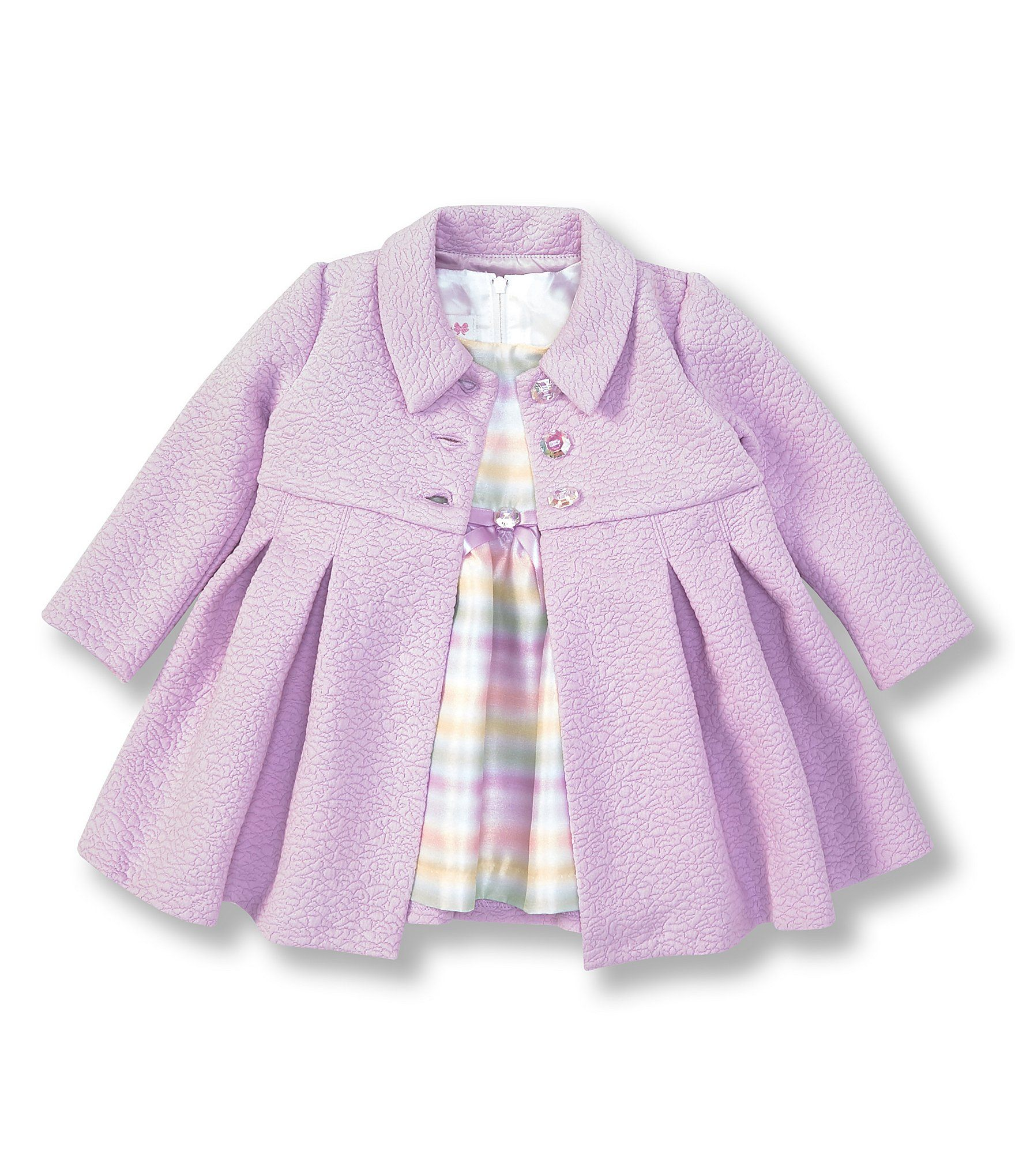 Photo of Bonnie Jean Baby Girls Newborn-24 Months Textured Coat & Stripe Shantung Fit-And-Flare Dress | Dillard's