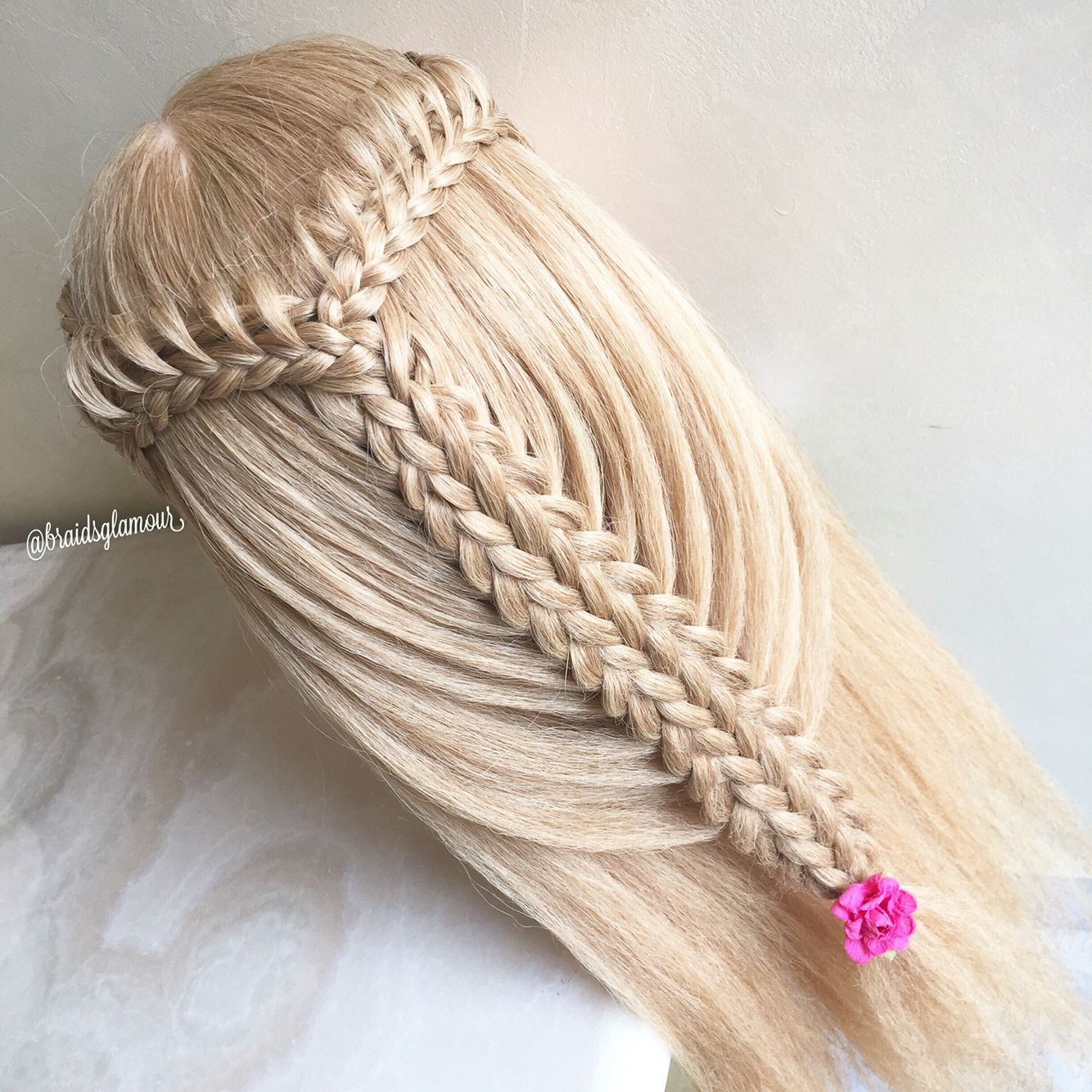 Loop braids into split five strand braid