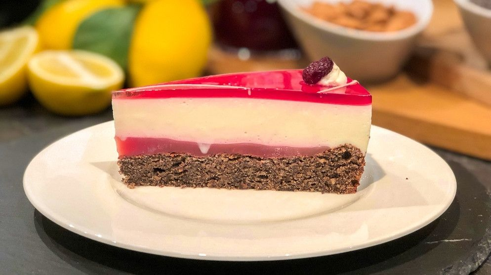Wir In Bayern Rezepte Joghurt Mohn Torte Mit Cranberry Br De Lebensmittel Essen Kochen Und Backen Torten