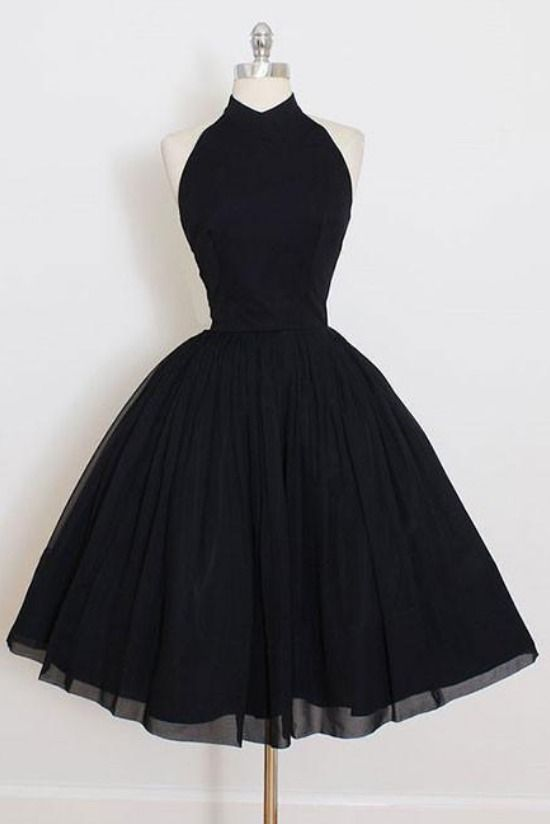 Little Black Dress, Halter Short Black Homecoming Dress with Open Back -   17 dress Black short ideas