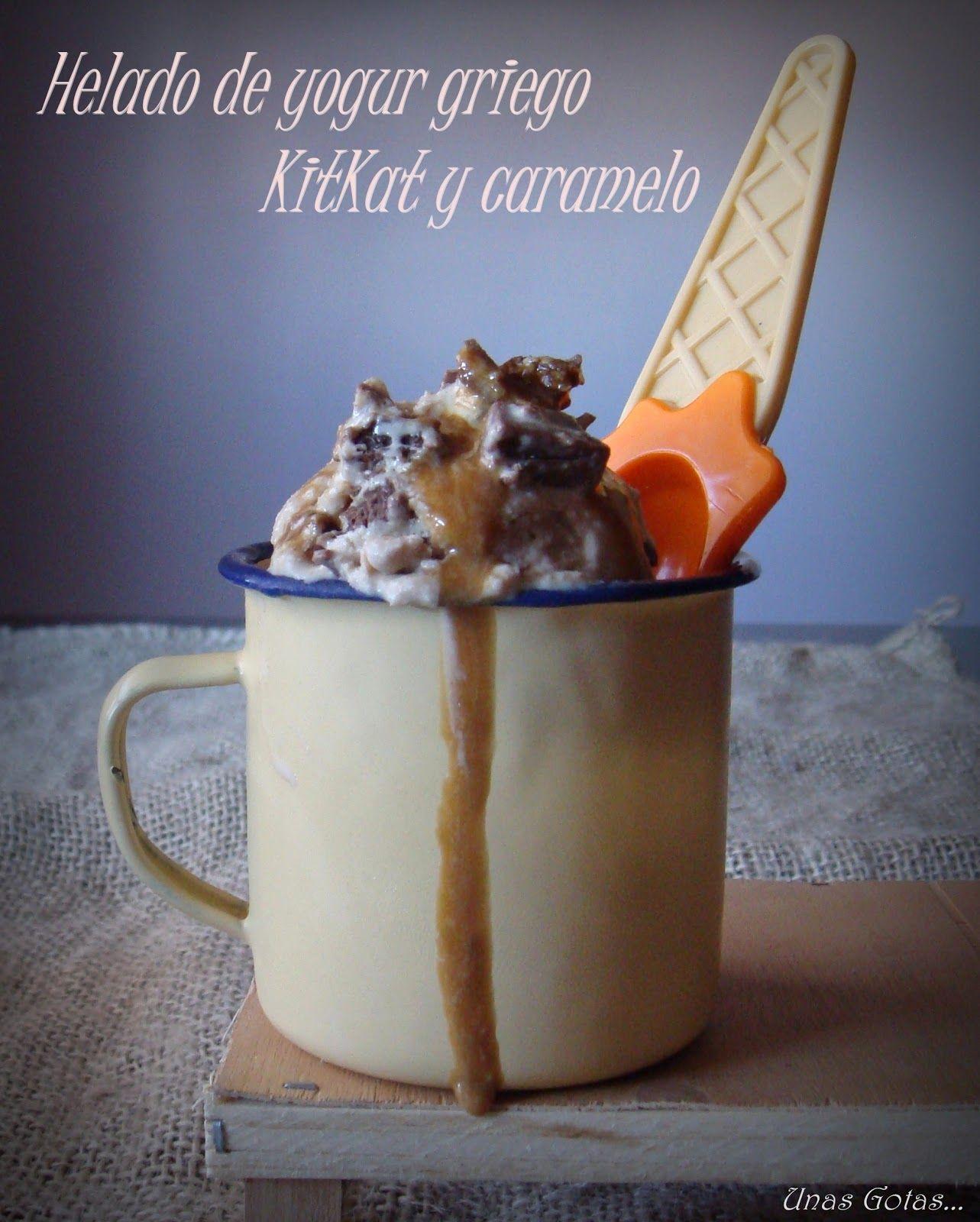 Unas Gotas de Imaginación: Helado de yogur griego, kitkat y caramelo