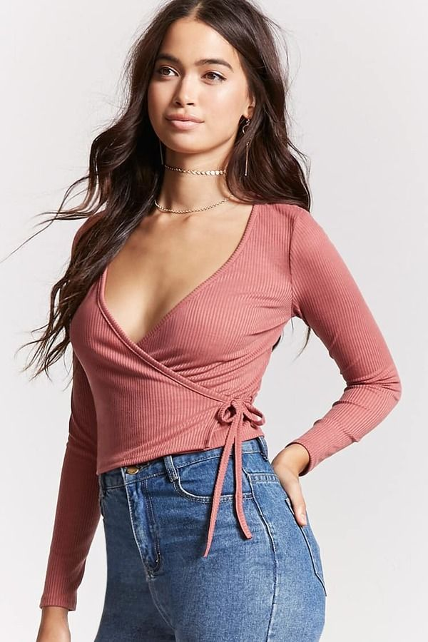 4a43c58277 FOREVER 21 Ribbed Knit Wrap Top