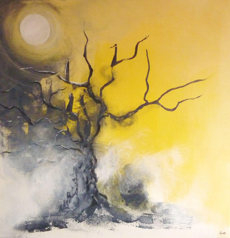 les mes passantes tableau sur toile 80x80 cm peinture acrylique arbre lumi re jaune noir. Black Bedroom Furniture Sets. Home Design Ideas