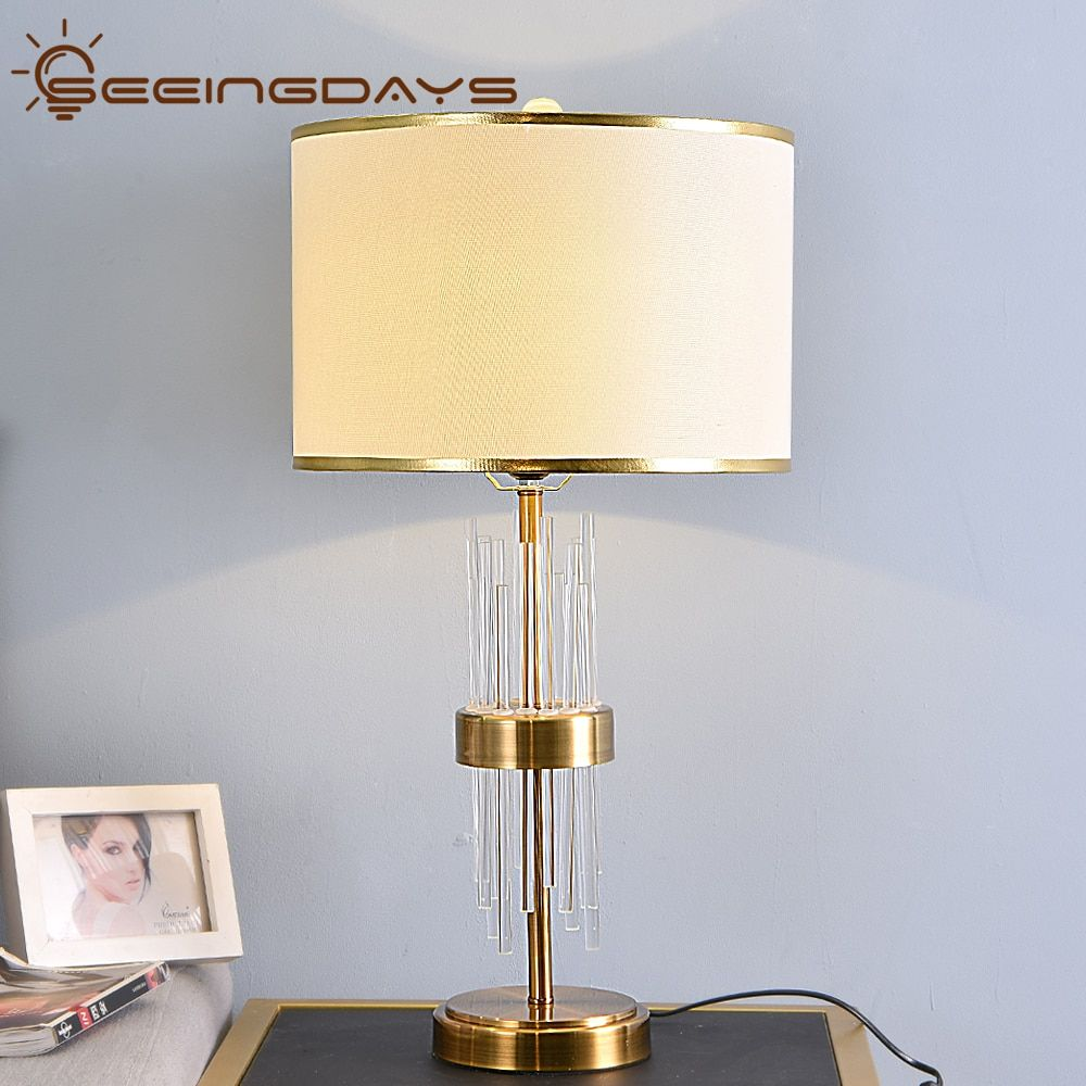 Buy 2 Get 15 Off Clear Crystal Glass Stick Table Lamps For Bedroom Living Room Bedside Lamp Golden Lampsh In 2020 Table Lamps For Bedroom Cheap Table Lamps Table Lamp