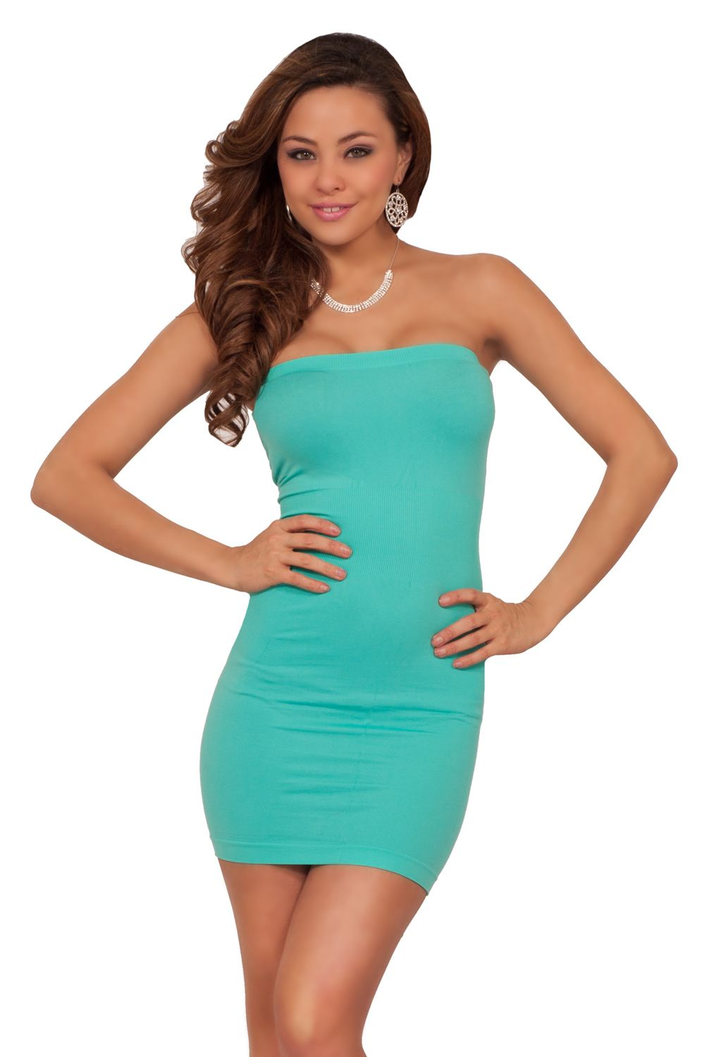 Turquoise green strapless cocktail dress