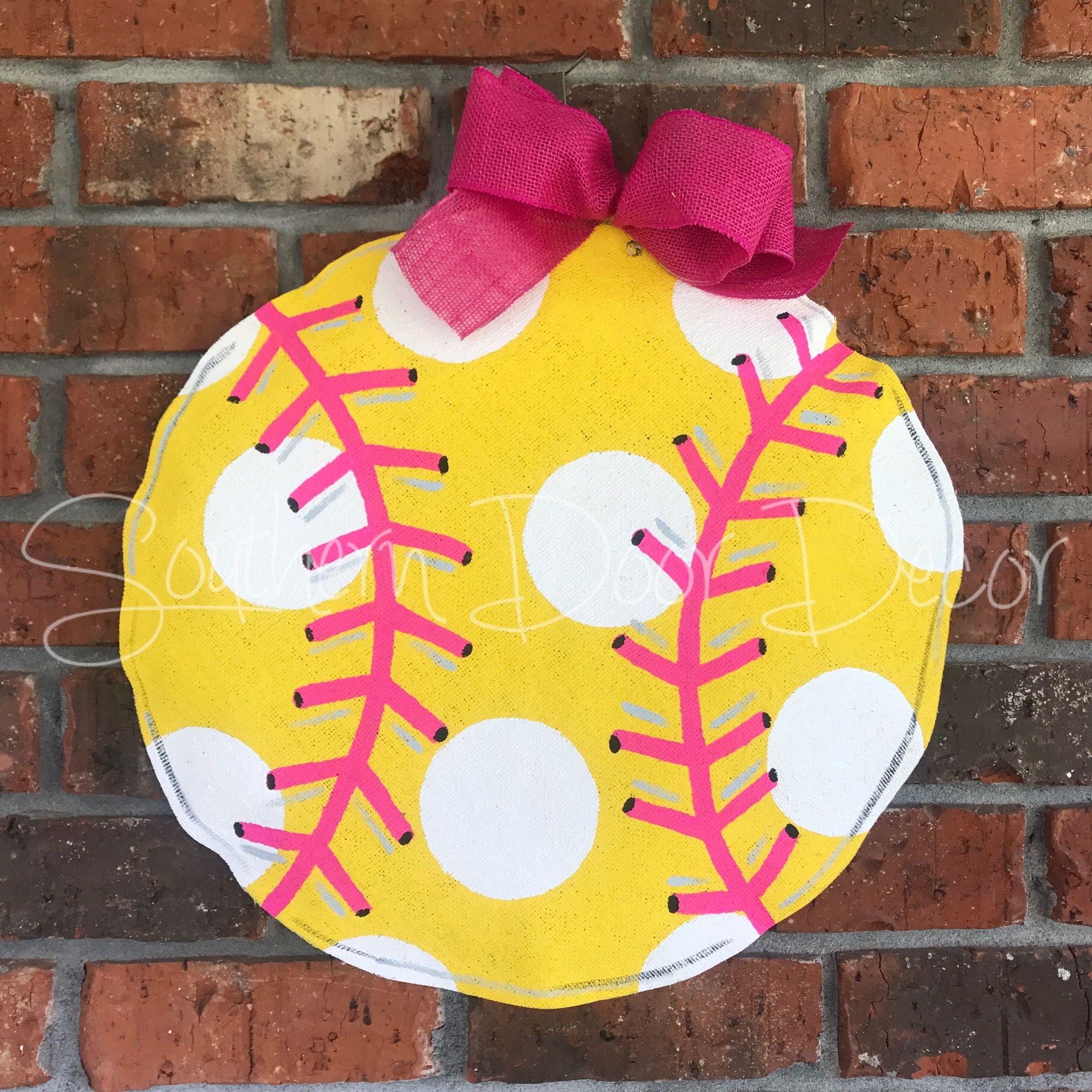 Softball Door Hanger Door Hangers Door Decorations Hanger