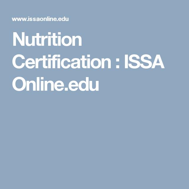 Nutrition Certification Issa Online Issa Certification