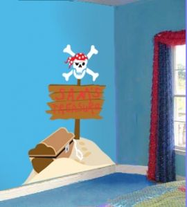 How to create a pirate mural for your child s room for - Piratenzimmer wandgestaltung ...
