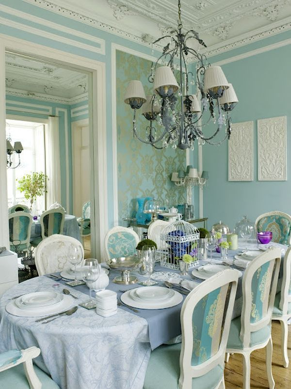 Glamorous Home. Blue Dining RoomsLight ...