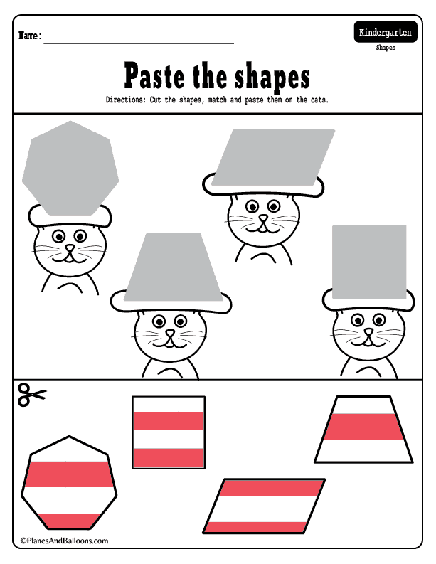 Cats With Funny Hats - Dr. Seuss Inspired Shapes Matching Worksheets Dr  Seuss Preschool Activities, Dr Seuss Preschool, Dr Seuss Activities