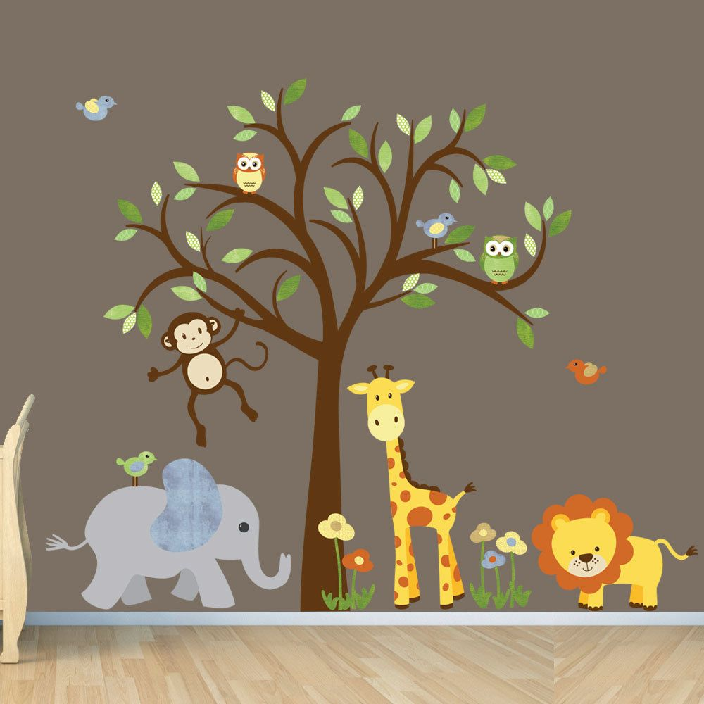 Safari Wall Decal Nursery Wall Decal Jungle Animal Wall Decal - Nursery wall decals jungle