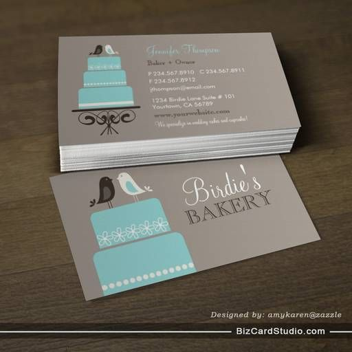 Birds And Cake Business Card Templates  Bakery Business Cards