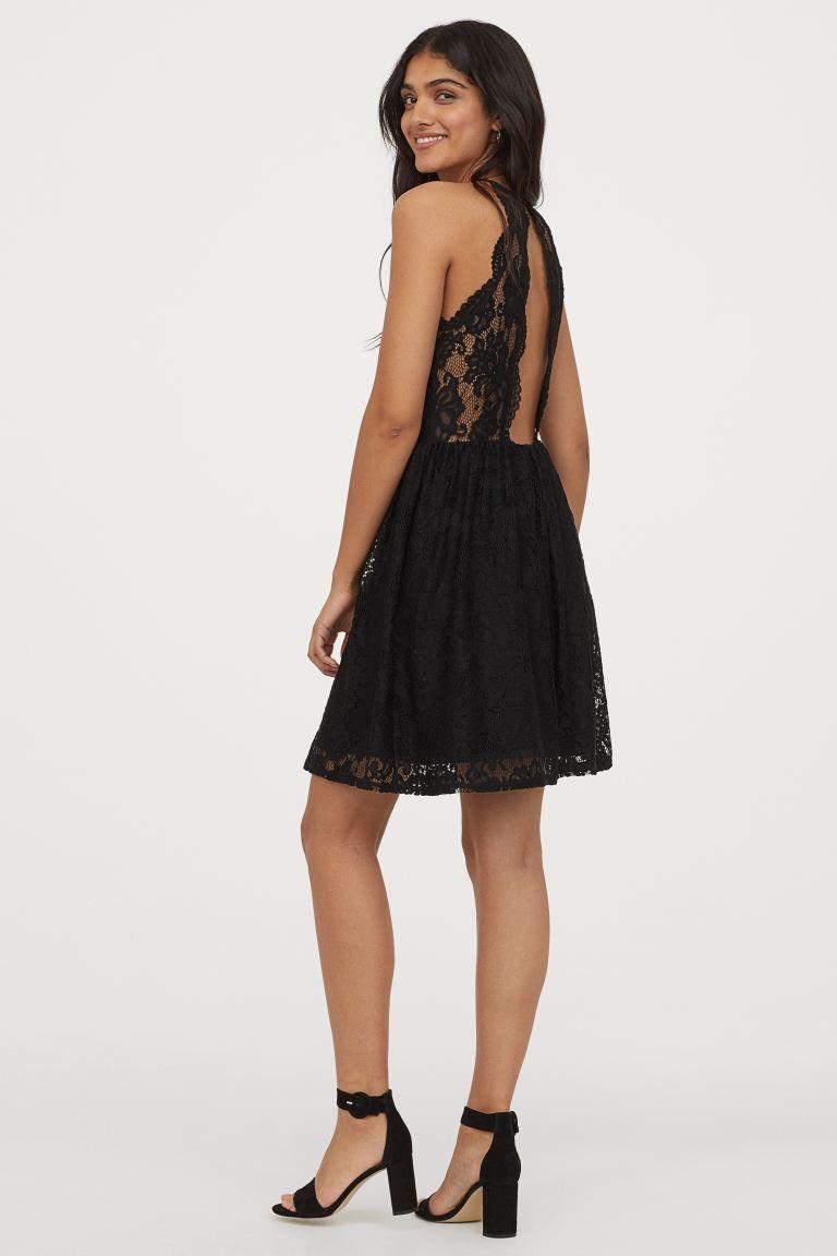 short lace dress - black - ladies   h&m us in 2020