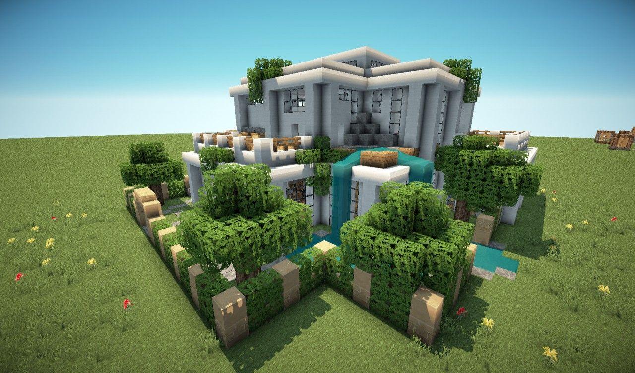 First Modern House Minecraft Project Rumah Pinterest