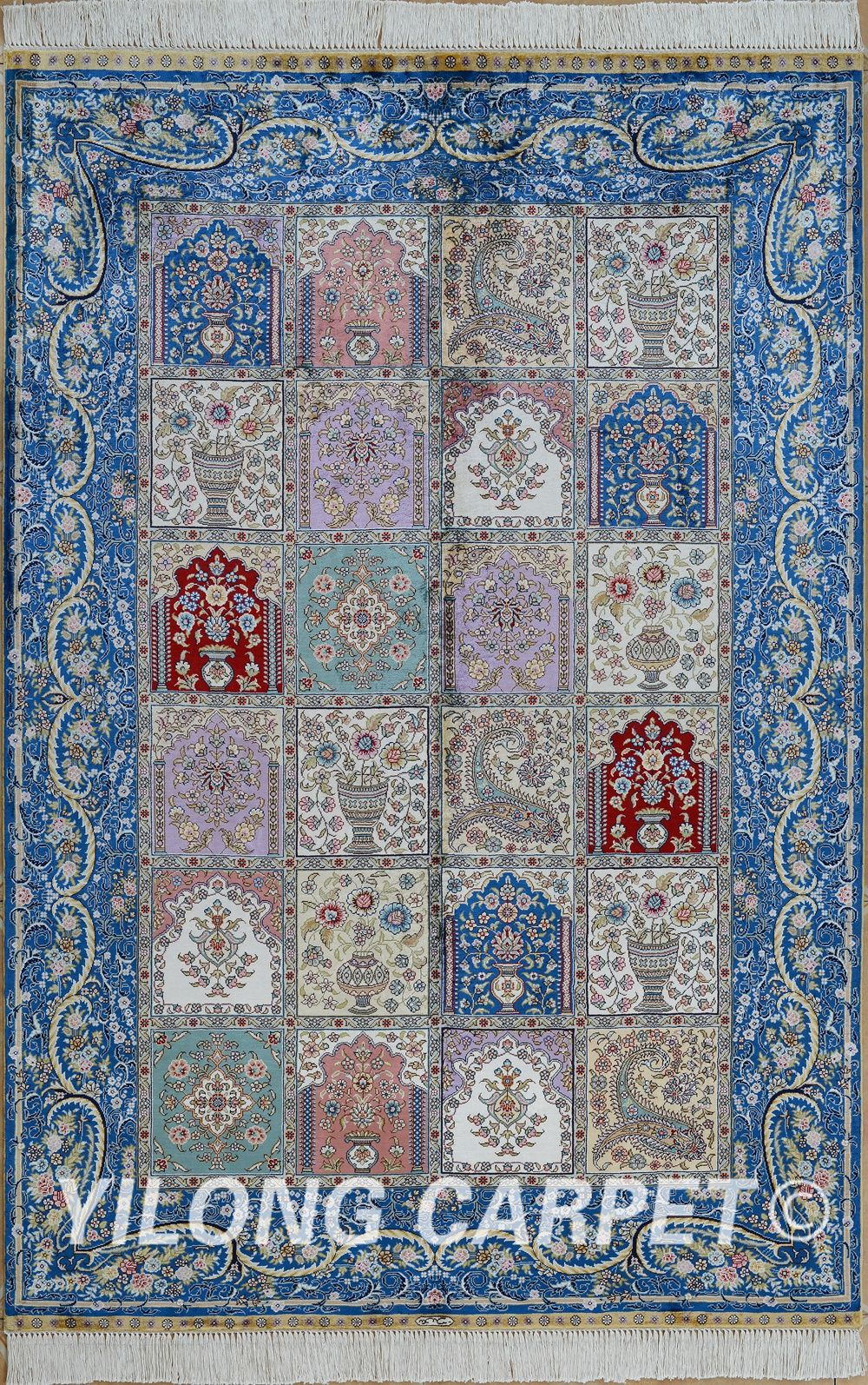 Rug Materials Silk Style Traditional Dyeing Vegetable Technology Hand Knotted Size 2x3 14x20 Fit For Bedroom Living Room Dining Area