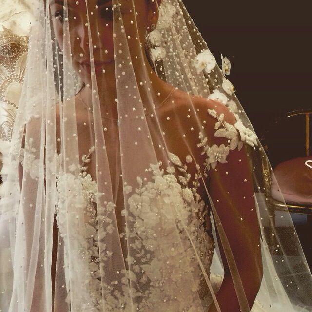 Pearl Veil Wedding Gowns Stunning Bride