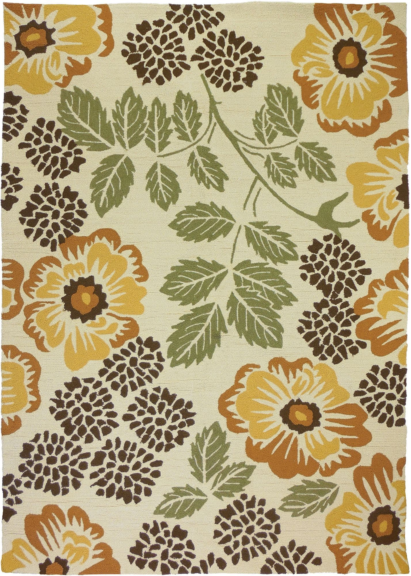 Sierra Floral Beige Indoor/Outdoor Area Rug