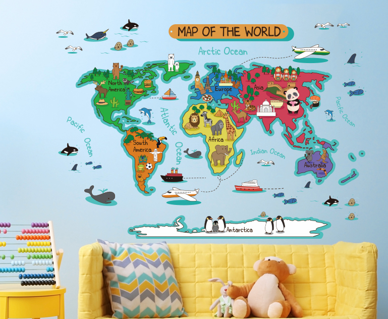 Wall Sticker World Map Wall Stickers For Kids Room Home Decor Diy Removable Wall Decal Kindergarten Wall Stickers World Map Wall Stickers Kids World Map Wall
