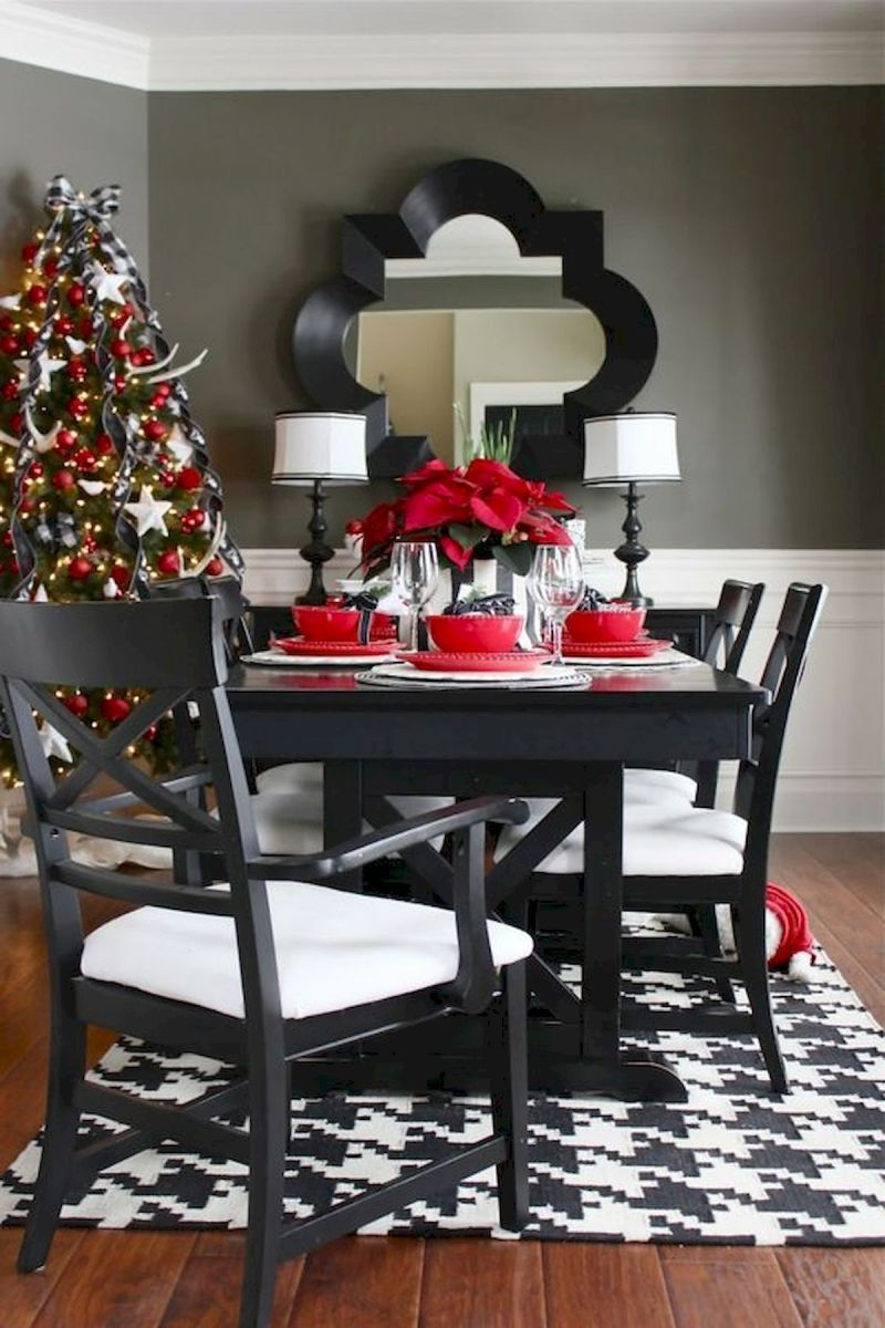 50 Stunning Christmas Table Dining Rooms Decor Ideas And Makeover 31 Red Dining Room Christmas Dining Room Holiday Dining Room