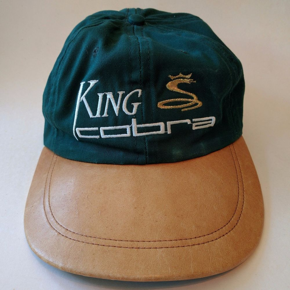 Vintage King Cobra Adjustable Golf Hat   Cap Gold Snake Leatherette Brim   KingCorbra  BaseballCap 1b900e350b3