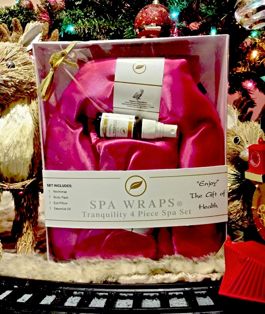 Spa Wrap Gift Set $50 Choice of 7 Colors Makes the Perfect Gift For the Holidays! www.natures-inspirations.com BA# 1472  The Spa Wrap Package includes 1-12 Herbal blend hot/cold neck therapy wrap ( a $29.95 value ) 1-12 Herbal blend hot/cold body therapy pack ( a $19.95 Value ) 1- Lavender hot/cold eye therapy pillow ( a $14.95 Value ) 1 Peppermint spray ( an $8 value )  Ships to USA & CANADA ONLY *Limited Quantities